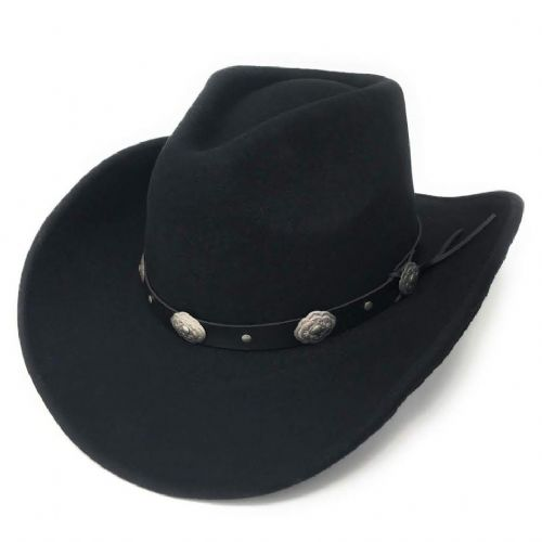 Wool Cowboy Hat - Black with Concho Band Trim